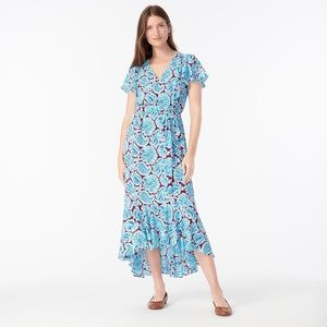 J Crew V-Neck Flutter Hem Dress in Aqua Paisley
